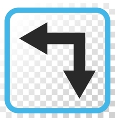 Bifurcation Arrow Left Down Icon In a Frame vector