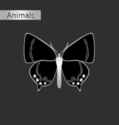 Black and white style icon of butterfly vector