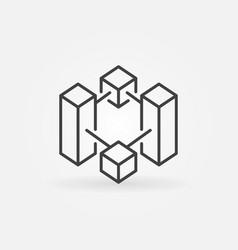 Block chain thin line icon or symbol vector