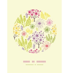 Blossoming trees circle decor pattern background vector