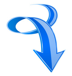 Blue down arrow 3d curled up sign vector