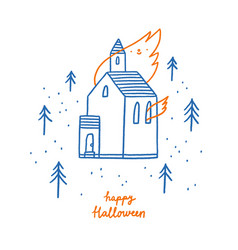 burning church halloween outline vector image