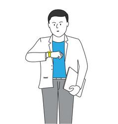 Businessman looking at handwatch vector