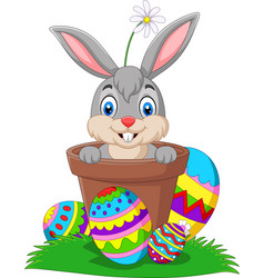 cartoon bunny in pot with easter eggs vector image