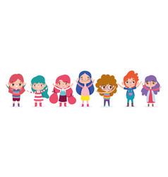 cartoon character animation little girls and boys vector image