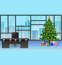 cartoon of decoration christmas tree in the office vector image