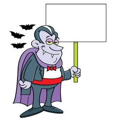 Cartoon vampire holding a sign vector image