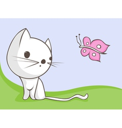 Cat with butterfly vector