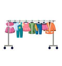children clothes in trendy market vector image