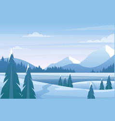 christmas winter landscape with pine tree frozen vector image