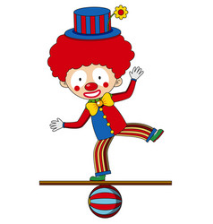Circus clown standing on the ball vector