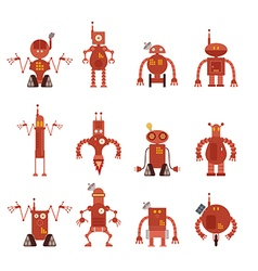 Collection of robot icons vector
