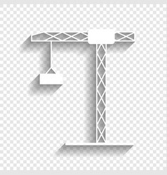 construction crane sign white icon with vector image