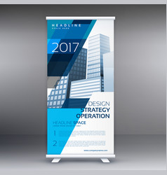 Creative blue and white roll up banner design vector