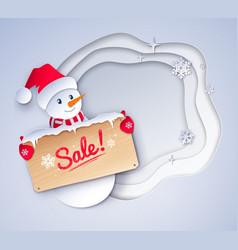 cut paper art style of snowman vector image