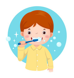 Cute boy brushing his teeth vector