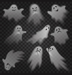 Cute scary ghosts phantoms on transparent alpha vector