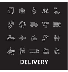 delivery editable line icons set on black vector image