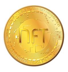 Detailed gold coin nft non fungible token front vector