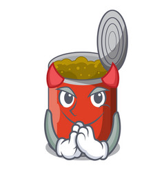 Devil canned food on the table cartoon vector