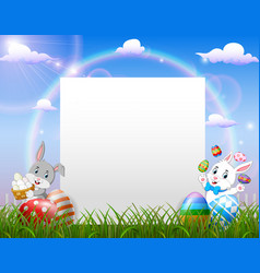 easter bunny near blank paper and easter egg vector image