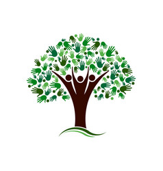 Family tree with hands network logo vector