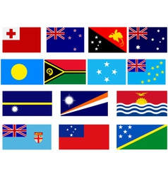 Flags of countries in Oceania vector