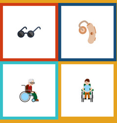 Flat icon handicapped set audiology wheelchair vector