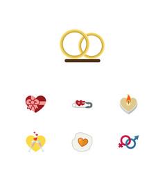 flat icon heart set of scrambled celebration vector image