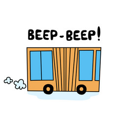 funny cartoon yellow bus vector image