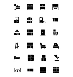 Furniture solid icons 3 vector