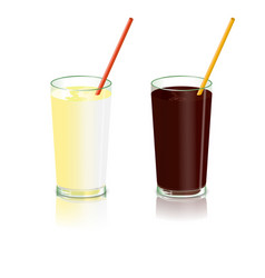 glasses with a cocktail set with milk or caramel vector image