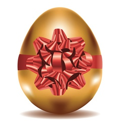 Golden Egg with Bow vector