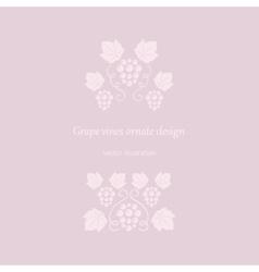 Grape vines pink ornate frame vector image