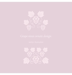 Grape vines pink ornate frame vector