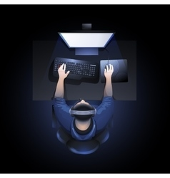 Guy playing computer vector
