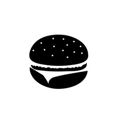 Hamburger black and white icon vector