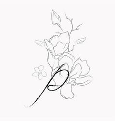 Handwritten line drawing floral logo monogram p vector