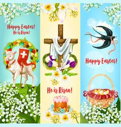 Happy easter he is risen festive banner set vector