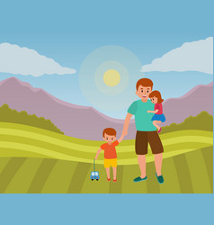 happy father s day dad with his son and daughter vector image