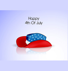 Hat with happy 4th of july text vector