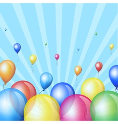 Holiday stripes background with balloons vector