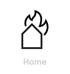 home on fire icon editable line vector image