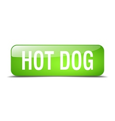 Hot dog green square 3d realistic isolated web vector