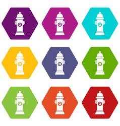 Hydrant icon set color hexahedron vector
