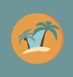 island icons symbol of the island with palm trees vector image