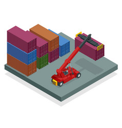 Isometric mobile container handler in action vector