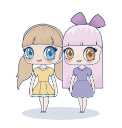 kawaii girl icon vector image
