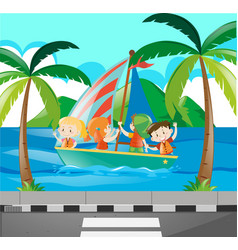 Kids sailing boat in the ocean vector