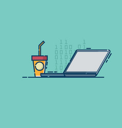 laptop and iced coffee cup vector image